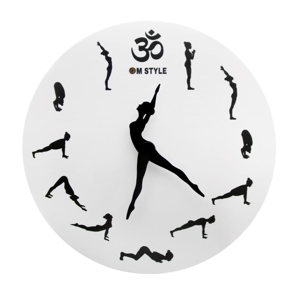 Creative Ballerina Dancer Clock Yoga Healthy Sports Silhouette Wall CLock Unique Iconic Clock Modern Indoor Home Decor|Wall Clocks| |  - title=