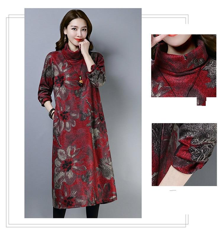 2019 New Women Spring Autumn Dresses Turtleneck Printed Female Long Sleeve Vintage Robe Dress Vestido 58