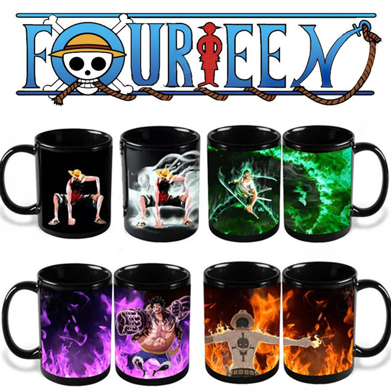 Anime Coffee Mug One Piece Color Change Cup Luffy Zoro Ace Funny Printed Cups and Mugs