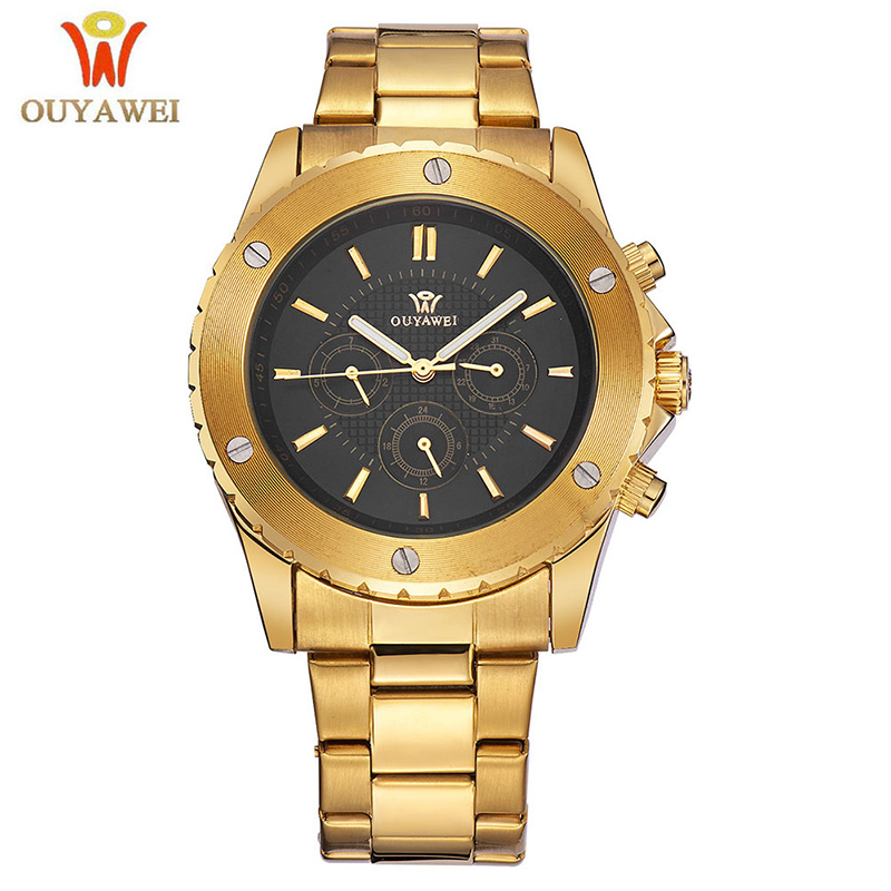 OUYAWEI Mens Watches Top Brand Luxury Gold Men Mechanical Wrist Watch Steel Business Automatic Watch Clock Relogio Masculino 2018 men s watches automatic watch men luxury brand stainless steel band top luxury fashion mechanical wrist watch relogio clock