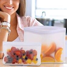 Contenedores de almacenamiento de alimentos de silicona a prueba de fugas contenedores reutilizables de pie Zip cierre bolsa taza bolsa fresca bolsa de almacenamiento de alimentos