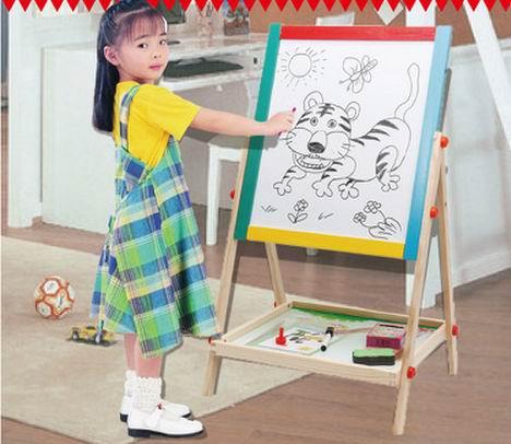 65 cm enfant double face en bois magnétique tableau noir tableau blanc / enfants big écriture et planche à dessin jouets avec gomme / craie / marqueur