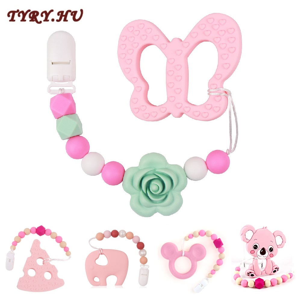 TYRY.HU Animal Koala Owl Silicone Teether Pacifier Chains Baby Teether Silicone Beads Safe Pacifier Clips Baby Teething Necklace
