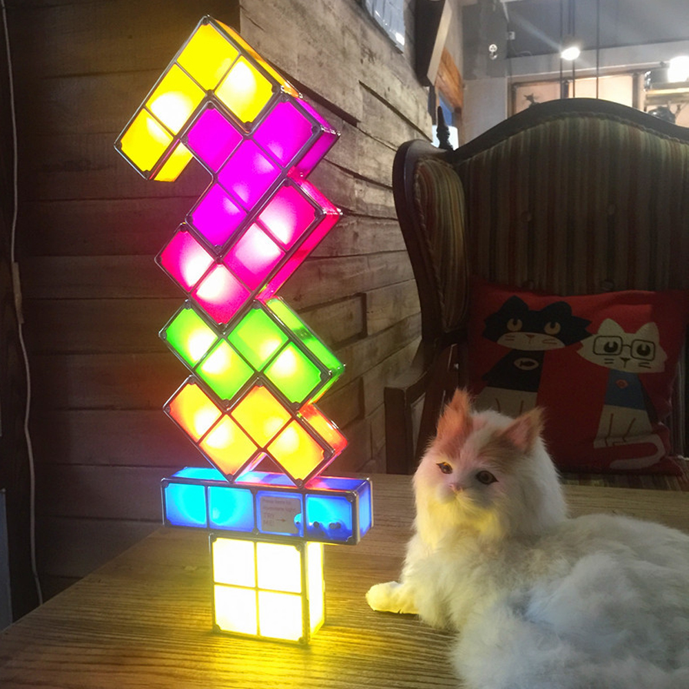 DIY Tetris Lamp Puzzle Light Stackable LED Desk Lamp Constructible Block LED Light Toy Retro Game Tower Block Baby NightLight tetris party deluxe