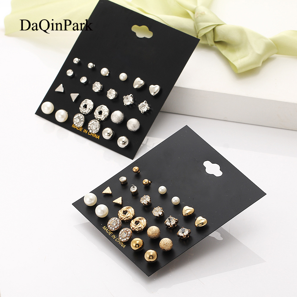 Stud Earrings 2018 New 12 Pairs Sets Round Square Ball Alloy Crystal Stud Earrings for Women Girls Female Cute Earring Sets-in Stud Earrings from Jewelry & Accessories on Aliexpress.com | Alibaba Group