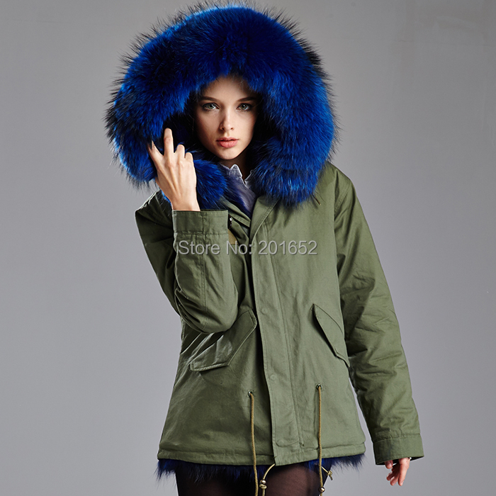 Winter Fashion Women Detachable Big Fur Hooded Coat, Popular Army ...