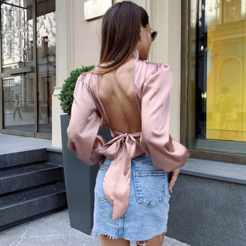 2019 Summer T-shirt Women Solid Fashion Sexy Hollow Out High Waist Lantern Long Sleeve Backless Tees Women Tops T-shirts Female