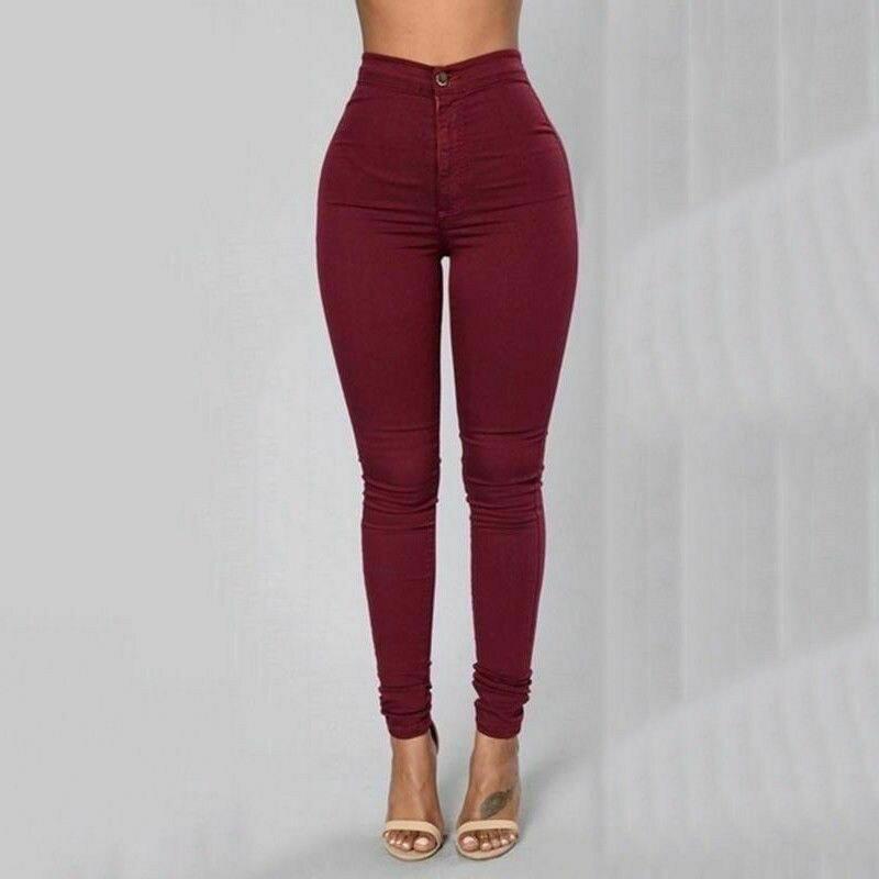 Women Pencil Stretch Pants Womens Ladies Slim Denim Skinny Pants High Waist Trousers Women's Long Pants Summer New 2019