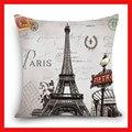 Главная Декоративные Чехлы для подушек живописный Лондон башня Рим Париж здание печати полиэстер квадратные подушки декоративные наволочки - фото