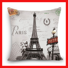 Home Decorative Cushion Cover Scenic London Tower Rome Paris Building Print Polyester Square Cushions Decorative Pillow Case(China)