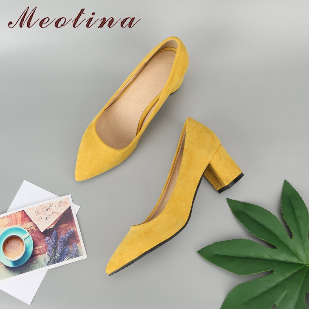 Meotina Thick High Heels Shoes Women Pumps Pointed Toe Work Shoes Slip On High Heels Spring Footwear Big Size 9 42 43 Red Yellow(China)