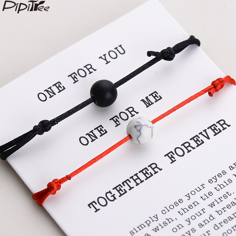 Pipitree 2pcs/set Matte Lava Stone Natural Stone Bead Bracelet Red String Braiding Couple Bracelets for Men Women Wish Jewelry(China)