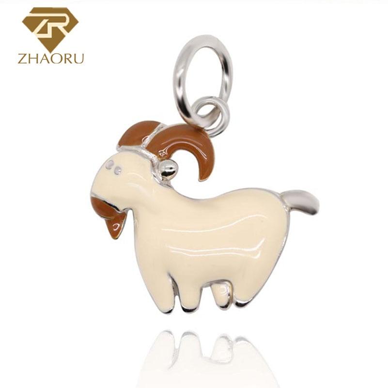 Zhaoru 925 Sterling Silver Enamal Goat Pendant Charm Fit Pandora Bracelet & Bangle & Necklace DIY Jewelry Charm ZP2429