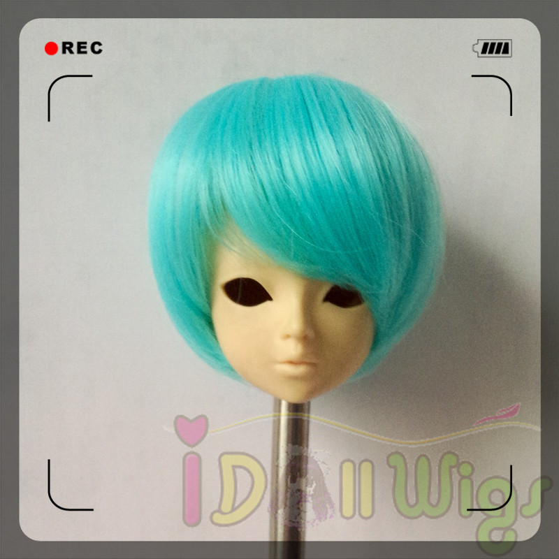 Professional Sale Soft Heat Resistant Wire Mint Green Short Boy Style Hair Wigs For 1/4 Bjd Dolls