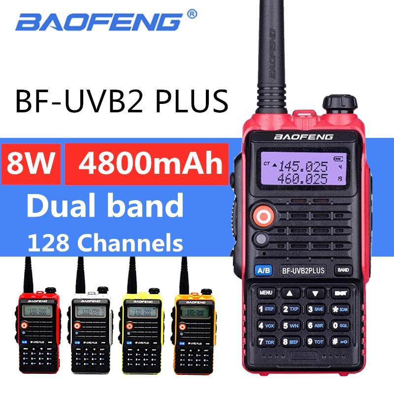 BaoFeng UV B2 Plus 8W High Power FM Transceiver 4800mah Battery BF UVB2 Plus for CB Radio Mobile Radio UVB2 Walkie Talkie Uv b2-in Walkie Talkie from Cellphones & Telecommunications