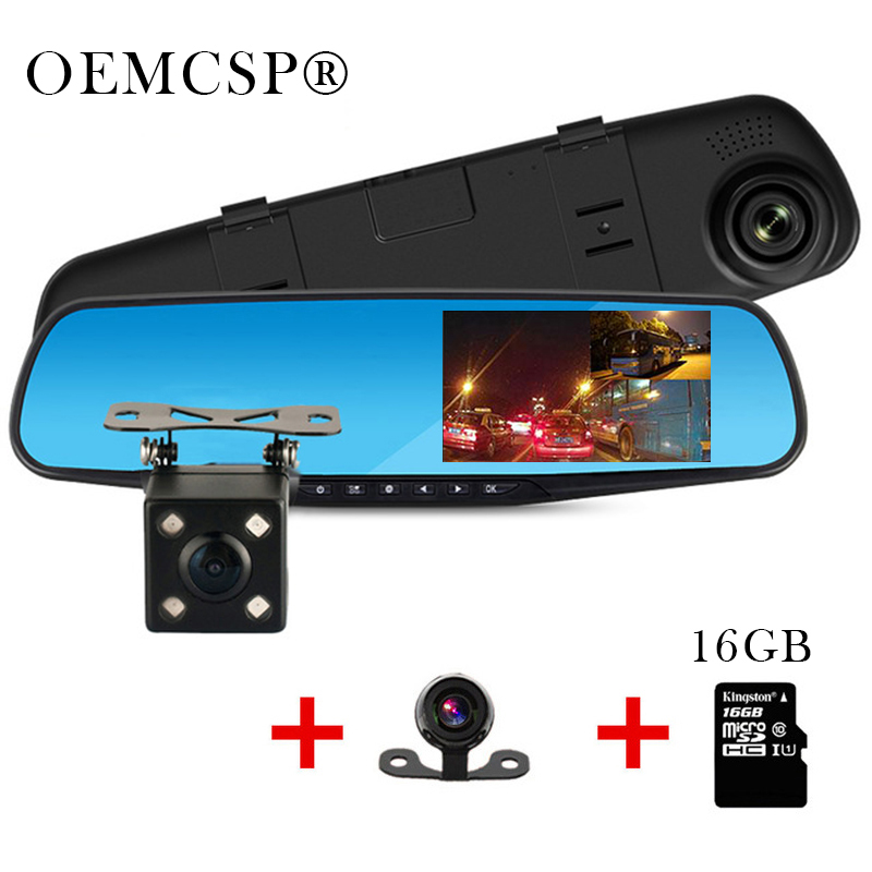 Full HD 1080P Car DVR Camera Dual Lens Auto 4.3 Inch Rearview Mirror Digital Video Recorder led night vision Registratory Camcor