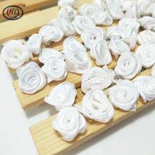 HL 100 adet el yapımı beyaz kurdele gül çiçekler düğün dekorasyon DIY el sanatları giyim aksesuarları dikiş aplikler 15MM A665