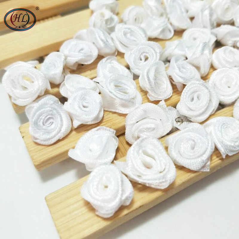 HL 100 шт ручной работы белые ленты Сатиновые розы/украшение на свадьбу декорация рукоделие хобби одежда аксессуары Швейные Аппликации 15 мм A665