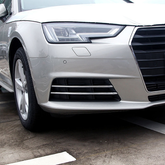 Free Shipping High Quality ABS Chrome Front Fog lamps cover Trim Fog lamp shade Trim For Audi A4 B9