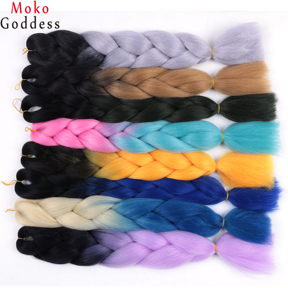 Initiative Mokogoddess 3 Pieces Synthetic Braiding Hair Extensions Twists Purple Ombre Jumbo Braiding Hair Colors Bulk False Hair Jumbo Braids Hair Braids
