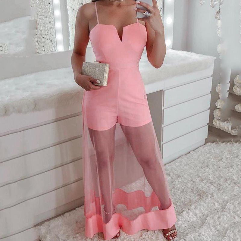 Summer Sexy Club Plus Size Pink Sweet Jumpsuits Women Slim High Waist Mesh Strapless 2019 Chic Female African Fashion Rompers