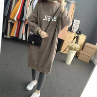 Fenghua Fashion Women BF Hoodies Sweatshirts Dress 2018 Casual Long Autumn Winter Dress Velvet Thick Ladies