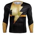 O Flash de Ouro Quick Dry Malha Ventile 3D Impresso t camisa de Super-heróis Camisa Exercício Skintight Manga Longa Camisa Bicicleta