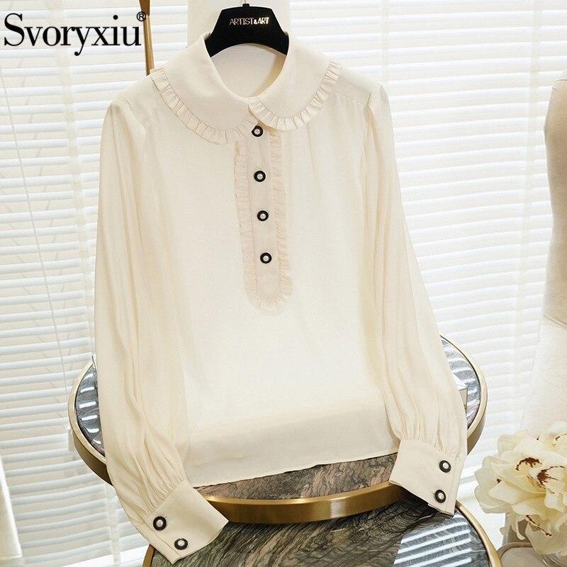 Svoryxiu осень взлетно посадочной полосы High End 100% шелк белая блузка Рубашки Для женщин Элегантный фонарь рукав Винтаж Блузка Топы
