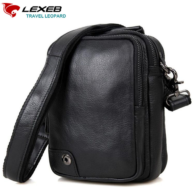 LEXEB High Quality Men's Black Cowhide Messenger Bag For Mini iPad Real Cow Leather Crossbody Small bags Everyday Soft Cheap