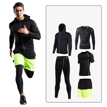 Fanceey 4pcs Mens Sports Suits Tracksuit Men Long Sleeve Compression Shirt Pants Sportswear Man Sporty Set Man Gym Fitness Suit