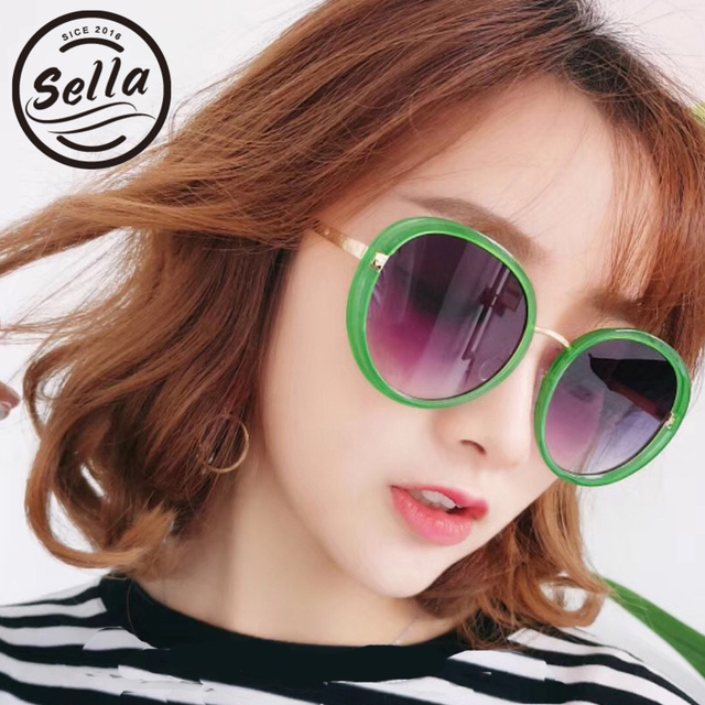 6acaaf04f0ff 2018 New Sella Korean Style Fashion Women Candy Round Frame Sunglasses  Trending Sexy Ladies Oversized Sun Glasses UV400