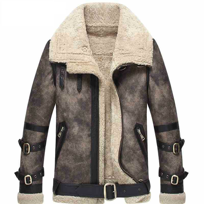 Men's Shearling Coat Gray Color Flight Jacket B3 B2 100% Genuine Motorcycle Coat Leather Jacket For Men Lambskin Fur Coat WZS