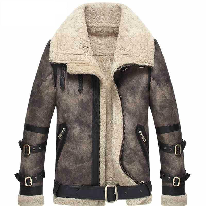 Los hombres de piel de oveja color gris chaqueta de vuelo B3 B2 100% genuino cuero de la motocicleta chaqueta de la capa para los hombres Cordero Pieles de animales capa wzs