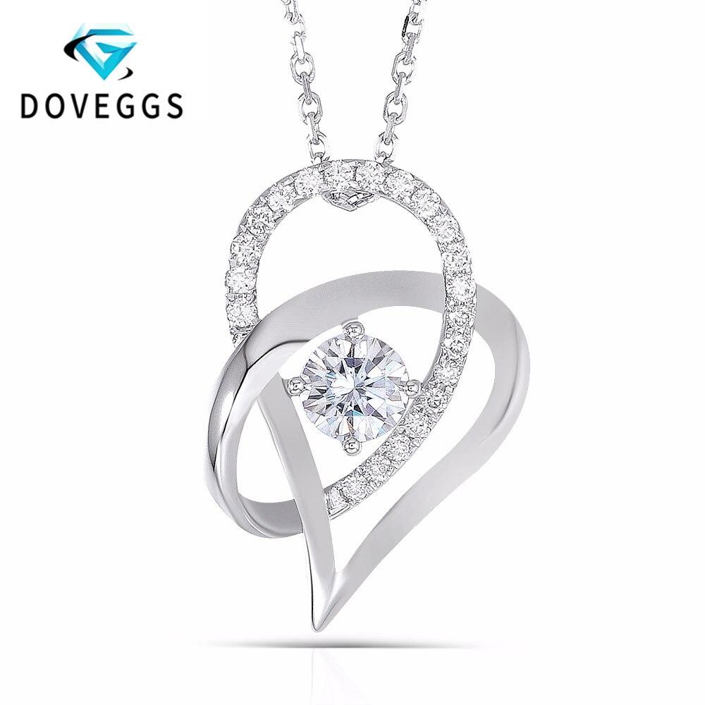 DovEggs Moissanite 18K White Gold 5MM F Color Heart Shaped Pendant Necklace for Women Slide