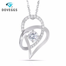 DovEggs Moissanite 18K White Gold 5MM F Color Heart Shaped Pendant Necklace for Women Slide Pendant стоимость