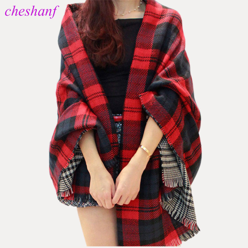 Women Red Faux Cashmere Shawl 2019 Double Faced Plaid Blanket Scarf New Winter Brand Scarf Celebrity Womens Fall Fashion Cape