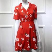 Women summer sexy V Neck Mini Dress silk cotton a line dress vintage short sleeve fashion Floral printed dress