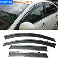 Car Stylingg Awnings Shelters 4pcs/lot Window Visors For Nissan March 2011-2016 Sun Rain Shield Stickers Covers