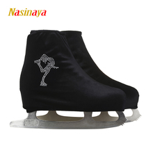 24 Colors Child Adult Velvet Ice Figure Skating Shoes Cover Roller Skate Fabric Accessories Black White Skator Rhinestone