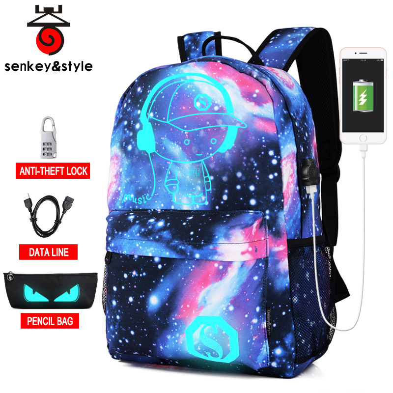 New Fashion Luminous Student Schoolbags Anime Cartoon Starry Sky Printing School Backpack Men Usb Anti-theft Travel Mochila