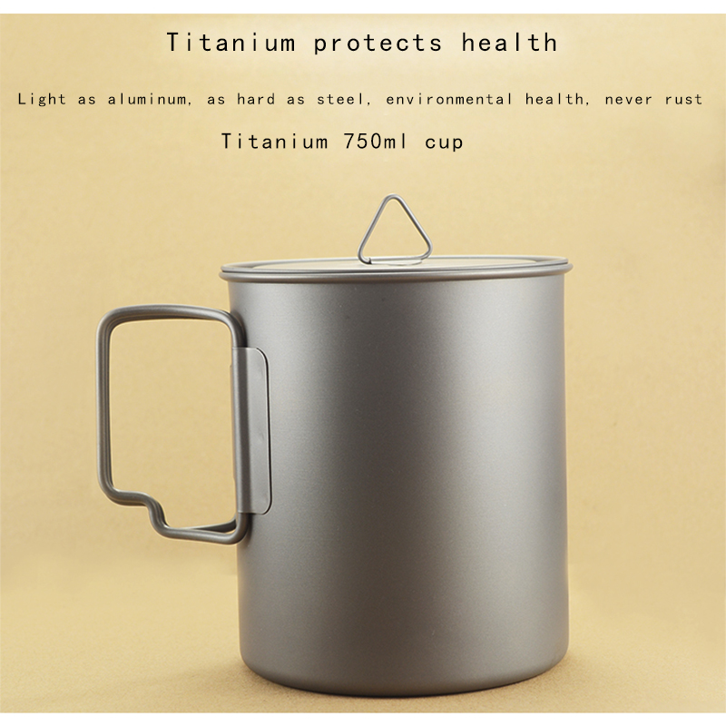 1pc Ultralight Titanium Cup Mug 750ml Outdoor Water Cup Camping Picnic Water Mug Tableware with Foldable Handle Accessories Tool keyboard mug cup 3pcs