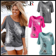 c24445bea7 yuerlian Women Girl Loose Type T-Shirt O-Neck Feather Printed Soft Strapless