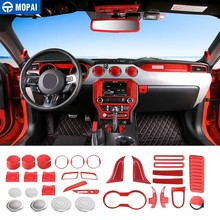 MOPAI Interior Mouldings for Car Dashboard Decoration Cover Set Kit Trim Sticker Ford Mustang 2015+ Accessories