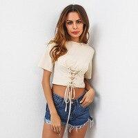 TAUPIN AM Lace Up Belt Crop Top Cotton T Shirt Women Elastic Short Sleeve T Shirt
