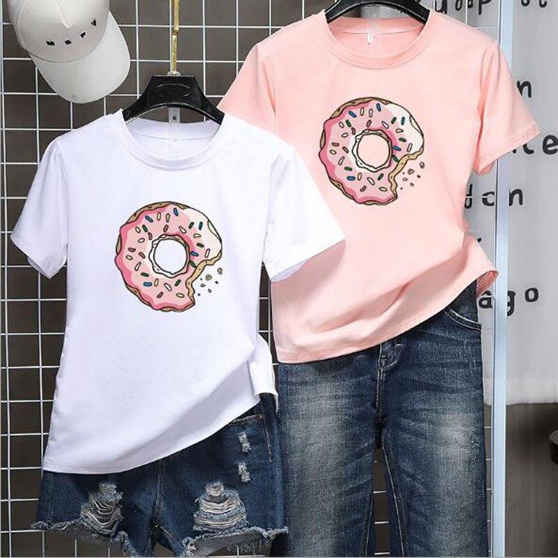 Donuts Print Women   T     shirt   Spring Summer Short Sleeve Round Neck Cotton Spandex Women Tops Slim Fit Women Tshirt