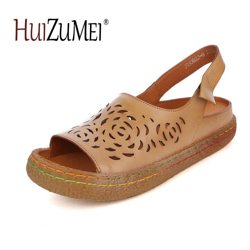 HUIZUMEI Genuine Leather retro flat sandals casual women shoes hollow comfortable soft sandals