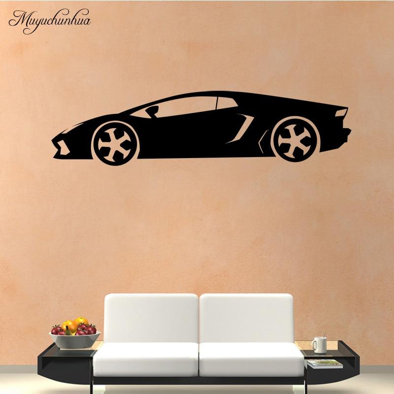 Muyuchunhua Cool Sports Car Pattern Wall Stickers for Boys Room Living Room Modern Fashion Wall Sticker PVC Wall Art Decoration