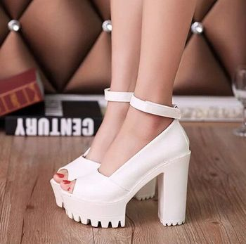 Women Heeled Sandals Bandage Rhinestone Ankle Strap Pumps Super High Heels 12 CM Square Heels Lady Shoes image