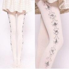Милые женские Колготки с рисунком Harajuku замок и Роза печатных Лолита колготки белый/черный