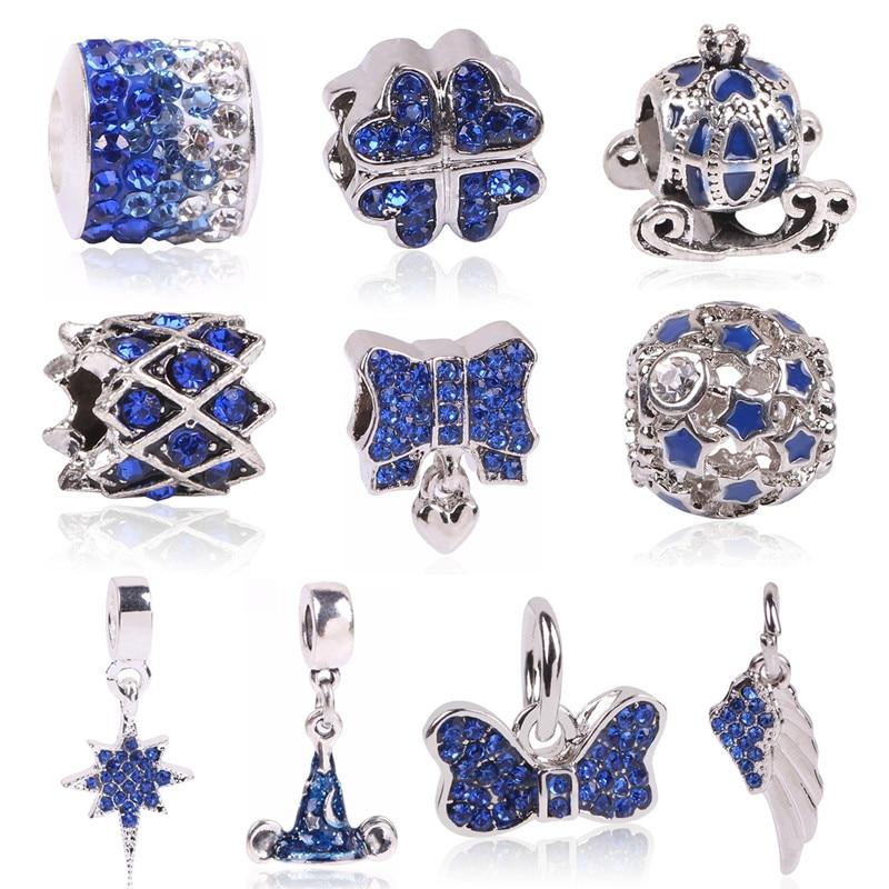 2018 Hot Sale Plated Silver Blue Enamel Charm Bead Fit Original Pandora Beads Bracelet Necklace Authentic